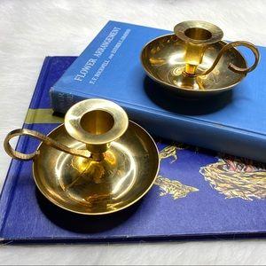 Candlesticks Vintage Distressed Patina Brass Set